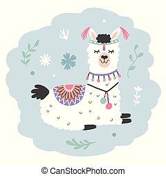 carino, alpaca, mano, llama., disegnato, cartone animato