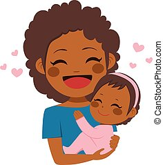 carino, americano africano, madre, bambino