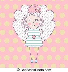 carino, amore, angelo, lei, illustrazione, gatto, vettore, cat., head., ragazza, ali, scheda
