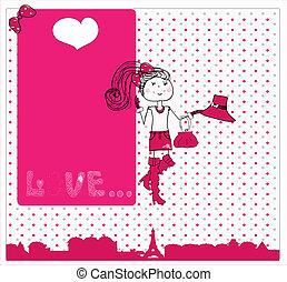 carino, amore, card., paris., v, ragazza