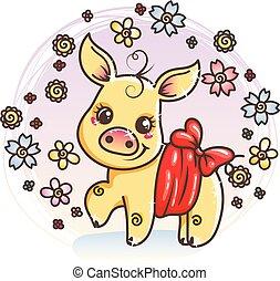 carino, amore, dorato, maiale, bambino, cartone animato