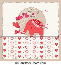 carino, amore, valentine, scheda, elefante, giorno