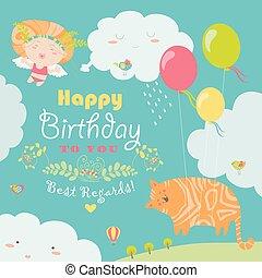 carino, angelo, gatto, scheda compleanno, felice