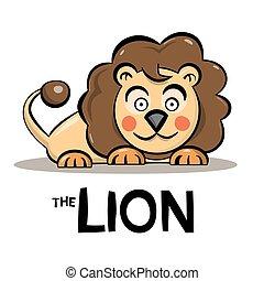 carino, animale, -, isolato, illustrazione, leone, vettore, fondo, bianco, cartone animato