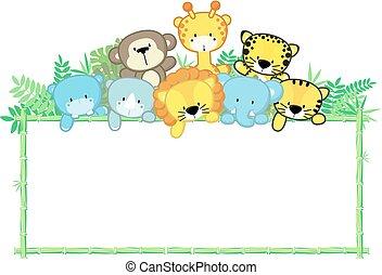carino, animali bambino, giungla, cornice