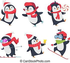 carino, animali, caratteri, dolce, atteggiarsi, neve, isolato, bambino, vettore, penguins., selvatico, cartone animato, inverno