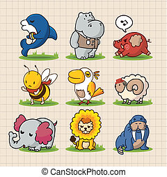 carino, animali, cartone animato
