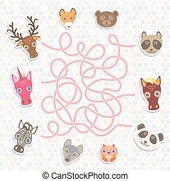 carino, animali, collezione, labirinto, gioco, per, prescolastico, children., vettore