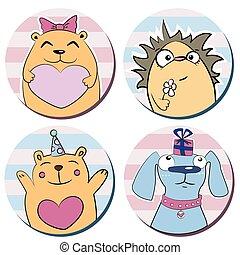 carino, animali, divertente, cartone animato, adesivi, rotondo