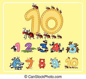 carino, animali, numeri, dieci, uno