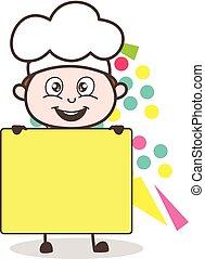 carino, annuncio, illustrazione, chef, vettore, bandiera, cartone animato