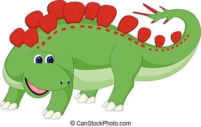 carino, antico, ondeggiare, dinosauro, proposta, sorridente, cartone animato
