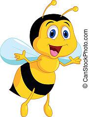 carino, ape, cartone animato