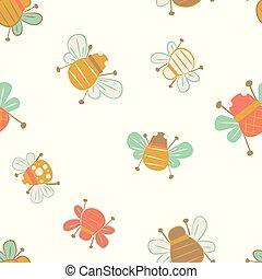 carino, api, seamless, modello