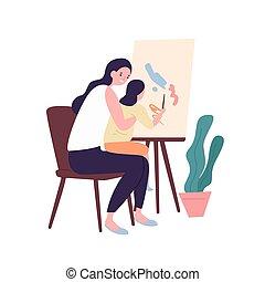 carino, arte, insieme., activity., divertente, colorito, ricreativo, adorabile, appartamento, genitore, drawing., mamma, bambino, cartone animato, capretto, figlia, illustration., compiendo, detenere, vettore, madre, divertimento, pittura, o