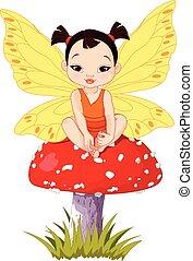 carino, asiatico, bambino, fata, su, fungo