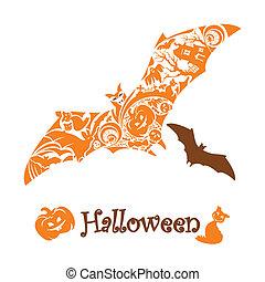 carino, astratto, pipistrello halloween