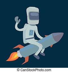 carino, astronauta, razzo, spazio