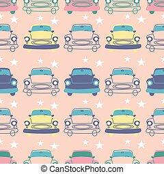 carino, automobili, seamless, disegno, stelle, vendemmia, modello
