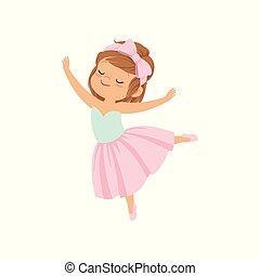 carino, ballerina, ragazza, in, vestito colore rosa, ballo, vettore, illustrazione, su, uno, sfondo bianco