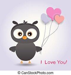 carino, balloon., cartone animato, ragazza, gufo, uccello
