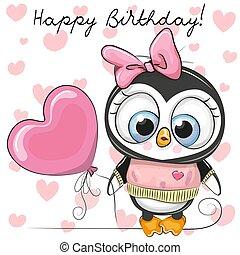 carino, balloon, pinguino, ragazza, cartone animato