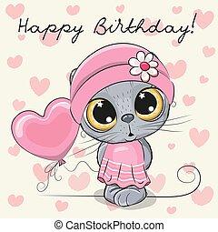 carino, balloon, ragazza, cartone animato, gattino