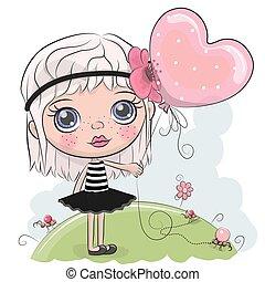 carino, balloon, ragazza, cartone animato