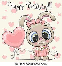 carino, balloon, ragazza, coniglio, cartone animato
