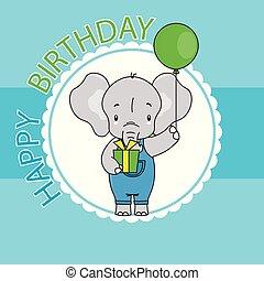 carino, balloon, regalo, elefante