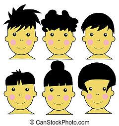 carino, bambini, asiatico, illustrazione, 6