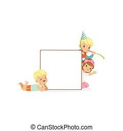 carino, bambini, cartellone, ragazza, bianco, illustrazione, ragazzi, vettore, caratteri, asse, messaggio, vuoto