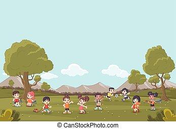 carino, bambini, cartone animato, erba verde, gioco, paesaggio