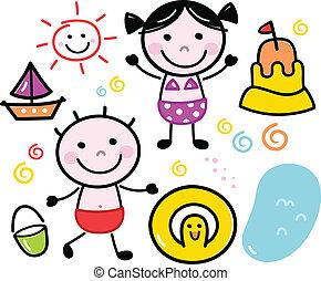 carino, bambini, estate, scarabocchiare, isolato, set, bianco