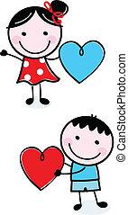 carino, bambini, figura, valentine, bastone, presa a terra, cuori, giorno