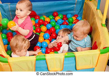 carino, bambini, gioco