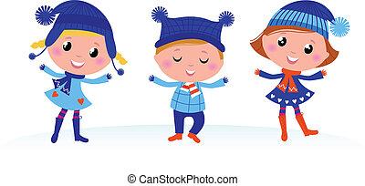 carino, bambini, gruppo, inverno, isolato, bianco