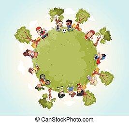 carino, bambini, playing., terra pianeta, cartone animato