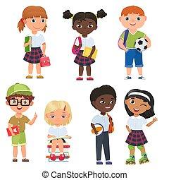 carino, bambini scuola, alunni, girls., ragazzi, vettore, illustratrion.