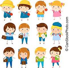 carino, bambini scuola, cartone animato