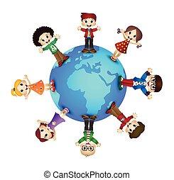 carino, bambini, sopra, terra pianeta, felice