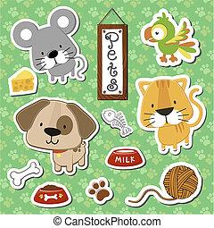 carino, bambino, animali domestici, set