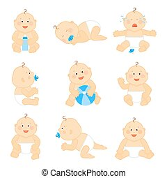 carino, bambino, in, pannolino, vettore, illustrazione