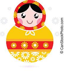 carino, bambola, legno, (, matrioshka, -, giallo, ), russo,...