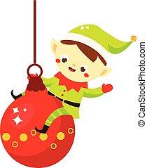 carino, benefattore, elf., seduta, carattere, augurio, santa, natale, disegno, anno, bauble., nuovo, cartone animato