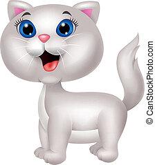 carino, bianco, cartone animato, gatto