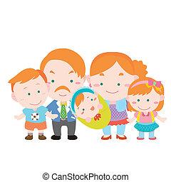 carino, bianco, illustrazione, famiglia