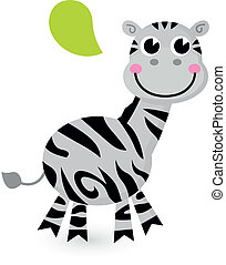carino, bianco, isolato, cartone animato, zebra