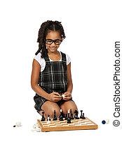 carino, bianco, scacchi, ragazza, gioco