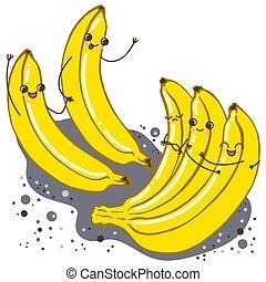 carino, bianco, set, isolato, banana